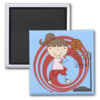 Sports Girl - Basketball Tshirts and Gifts 2 Inch Square Magnet