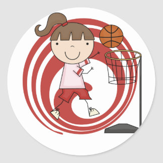 Sports Girl - Basketball Tshirts and Gifts Classic Round Sticker