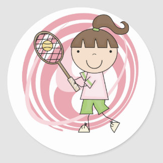 Sports Girl Tennis Tshirts and Gifts Classic Round Sticker
