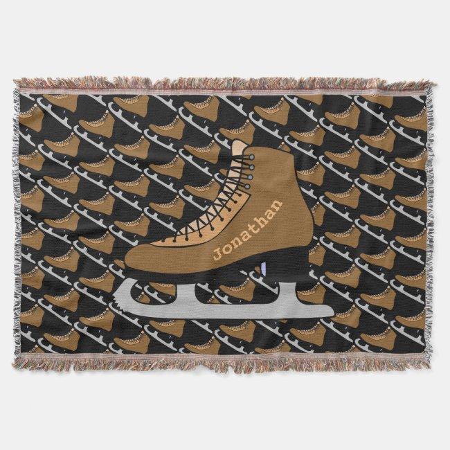 Sports Ice Hockey Skates Throw Blanket