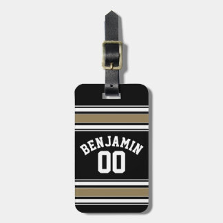 Sports Jersey Black and Gold Stripes Name Number Bag Tag