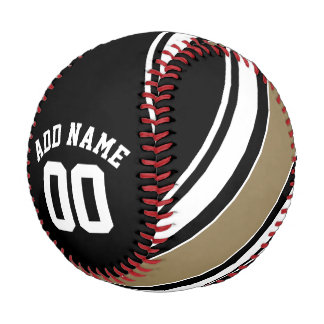 Sports Jersey Black and Gold Stripes Name Number Baseball