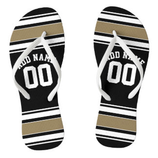 Sports Jersey Black and Gold Stripes Name Number Flip Flops