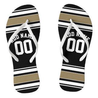 Sports Jersey Black and Gold Stripes Name Number Flip Flops