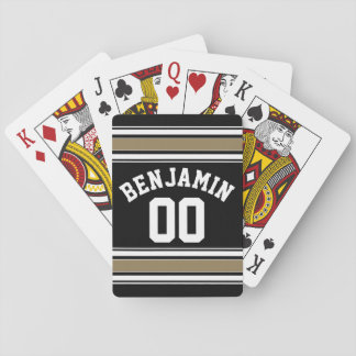 Sports Jersey Black and Gold Stripes Name Number Card Decks