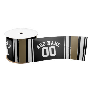 Sports Jersey Black and Gold Stripes Name Number Satin Ribbon