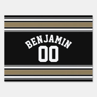 Sports Jersey Black and Gold Stripes Name Number Yard Sign