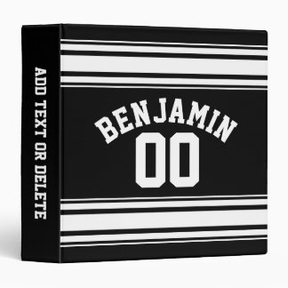 Sports Jersey Black and White Stripes Name Number Binders