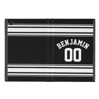 Sports Jersey Black and White Stripes Name Number Cases For iPad Mini