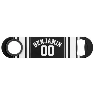 Sports Jersey Black and White Stripes Name Number Speed Bottle Opener