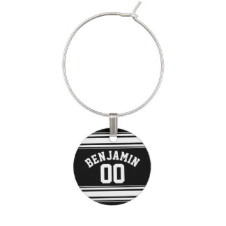 Sports Jersey Black and White Stripes Name Number Wine Charm