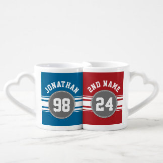 Sports Jersey Blue and Gray Stripes Name Number Couples' Coffee Mug Set