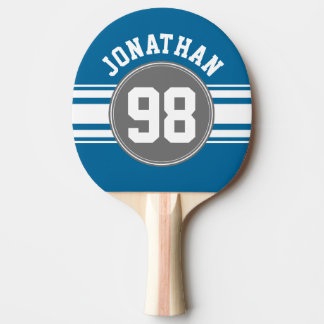 Sports Jersey Blue and Gray Stripes Name Number Ping Pong Paddle