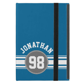 Sports Jersey Blue and Gray Stripes Name Number iPad Mini Cover