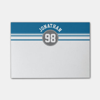 Sports Jersey Blue and Gray Stripes Name Number Post-it Notes
