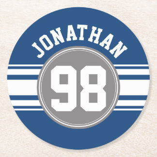 Sports Jersey Blue and Gray Stripes Name Number Round Paper Coaster