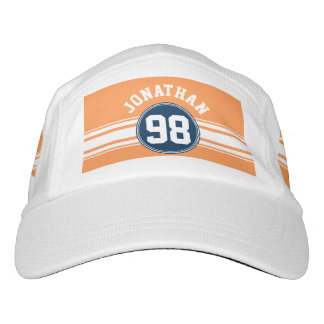 Sports Jersey Blue and Orange Stripes Custom Name Headsweats Hat