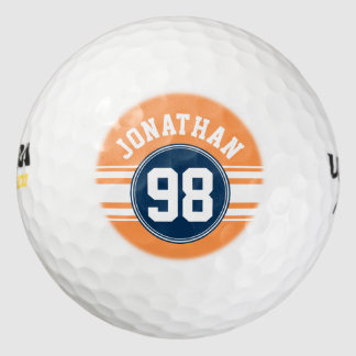 Sports Jersey Blue and Orange Stripes Name Number Pack Of Golf Balls