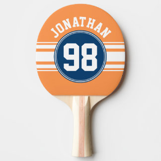 Sports Jersey Blue and Orange Stripes Name Number Ping Pong Paddle