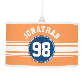 Sports Jersey Blue and Orange Stripes Name Number Hanging Lamp