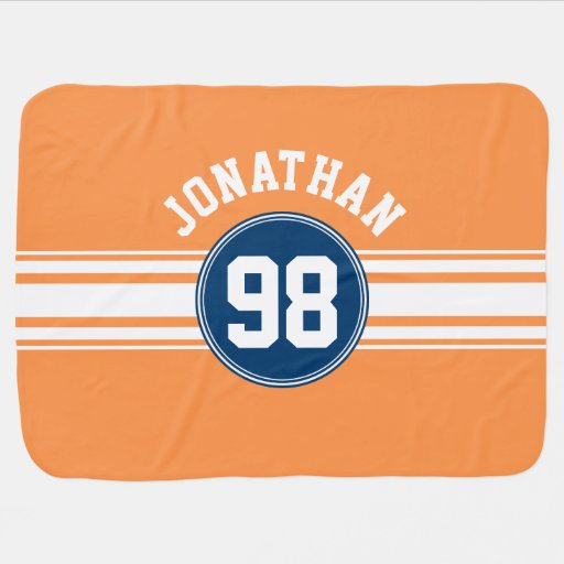 Sports Jersey Blue and Orange Stripes Name Number Receiving Blanket