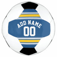 Sports Jersey Blue and Yellow Stripes Name Number Soccer Ball at Zazzle