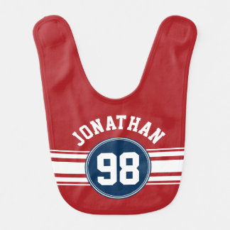 Sports Jersey Navy Blue & Red Stripes Name Number Baby Bib