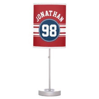 Sports Jersey Navy Blue & Red Stripes Name Number Desk Lamp