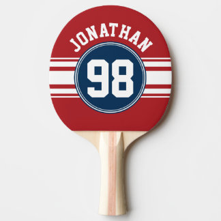 Sports Jersey Navy Blue & Red Stripes Name Number Ping-Pong Paddle