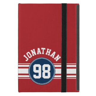 Sports Jersey Navy Blue & Red Stripes Name Number iPad Mini Case