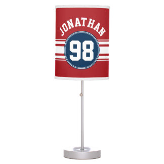 Sports Jersey Navy Blue & Red Stripes Name Number Table Lamp