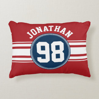 Sports Jersey Navy Blue & Red Stripes Name Number Accent Pillow