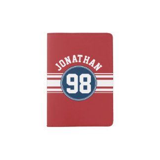 Sports Jersey Navy Blue & Red Stripes Name Number Passport Holder