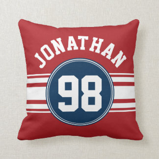 Sports Jersey Navy Blue & Red Stripes Name Number Pillow