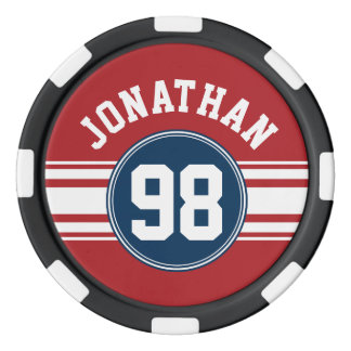 Sports Jersey Navy Blue & Red Stripes Name Number Set Of Poker Chips