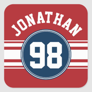 Sports Jersey Navy Blue & Red Stripes Name Number Square Sticker