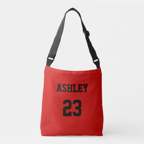 Sports Jersey Number and Name Red Personalized Crossbody Bag