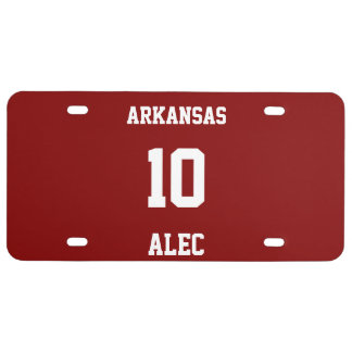 Sports Jersey Personalized Maroon License Plate