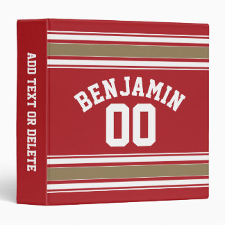 Sports Jersey Red and Gold Stripes Name Number Binder