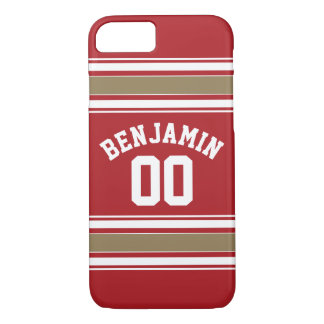 Sports Jersey Red and Gold Stripes Name Number iPhone 7 Case