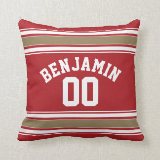 Sports Jersey Red and Gold Stripes Name Number Throw Pillow