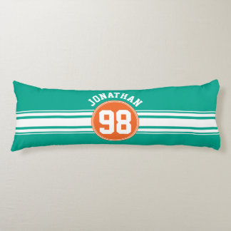 Sports Jersey Stripes Emerald & Orange Name Number Body Pillow