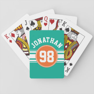 Sports Jersey Stripes Emerald & Orange Name Number Playing Cards