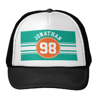 Sports Jersey Stripes Emerald & Orange Name Number Trucker Hat