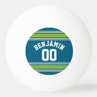 Sports Jersey Teal and Green Stripes Name Number Ping-Pong Ball