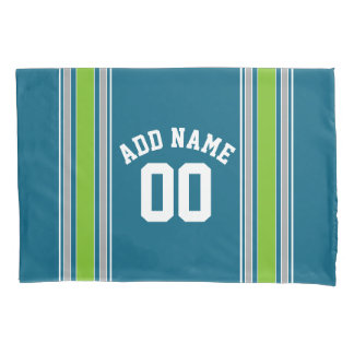 Sports Jersey Teal and Green Stripes Name Number Pillow Case