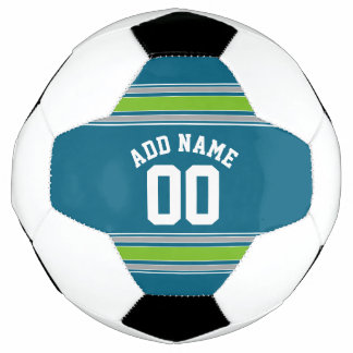 Sports Jersey Teal and Green Stripes Name Number Soccer Ball