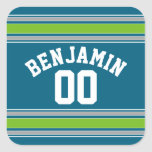 Sports Jersey Teal and Green Stripes Name Number Square Stickers