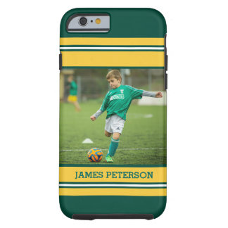 Sports Jersey Themed Green Yellow White Stripes Tough iPhone 6 Case