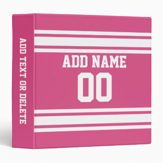 Sports Jersey with Name and Number - Pink White 3 Ring Binder